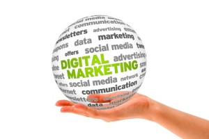Hand holding a 3d Digital Marketing Sphere on white background.
